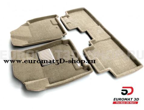 Текстильные 3D коврики Euromat3D Lux в салон для Cadillac SRX (2010-2015) № EM3D-001304T Бежевый